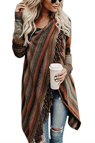 Zilcremo Mujer Frente Abierto Borla Cardigan Abrigos Suéter Poncho De Punto Suéteres Top