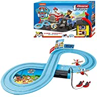 Racing track 2.4-metre racing circuit Paw Patrol: Chase & Marshall Up to 2 drivers simultaneously Scale: 1:50 Requires 4 x Type C Batteries (not included)