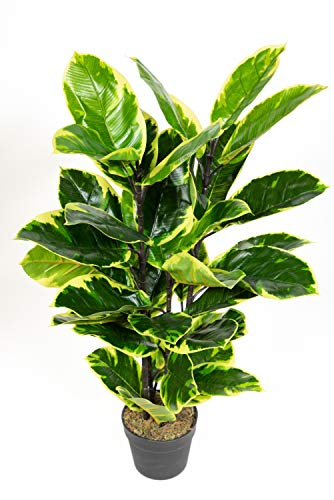 Seidenblumen Roß Gummibaum 90cm ZJ Kunstbaum Dekobaum Kunstpflanzen künstlicher Baum Ficus Elastica