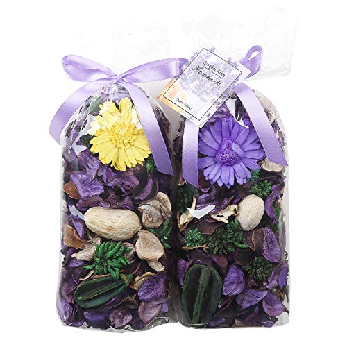 Qingbei Rina Potpourri Bag Purple Dried Flowers Lavender and Tangerine Scented Fragrance Sachet Petal Bowl and Vase Filler Home Decor,2 Bags,240g,Suitable for Filling a 83 Fluid-Oz Bowl