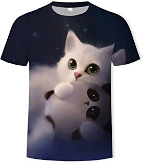 Men's Cool T-Shirt Funny 3D Tshirt Print Two Cat Short Sleeve Summer Tops Tees Teen Graphic Tee Cute Shirt Funny Gifts