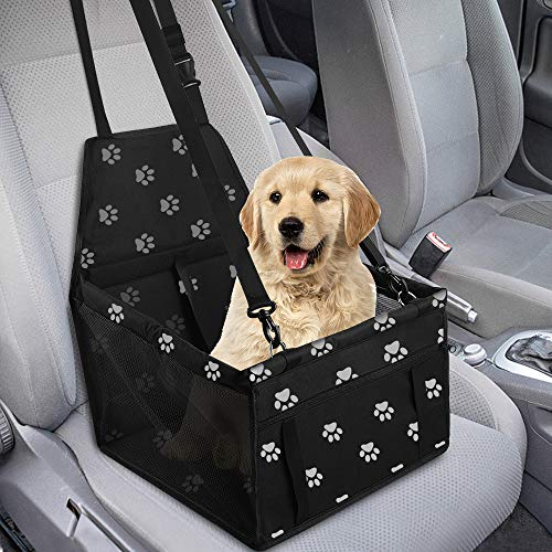 GeeRic Hunde Autositz für Kleine Mittlere Hunde Hochwertiger Auto Hundesitz für kleine bis mittlere Hunde Verstärkte Wände und 3 Gurte Wasserdichter Hundeautositz für Rück und Vordersitz