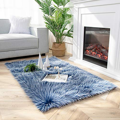 Ashler Faux Fur Rug Soft Faux Peacock Fluffy Rugs Luxurious Carpet Rugs Area Rug for Bedroom, Living Room Carpet Blue-Rectangle 3 x 5 Feet