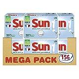 Sun Tout-En-1 Tablettes Lave-Vaisselle, Format Spécial Petit Lave-Vaisselle ou Lavage Réduit 156 Lavages (Lot de 6x26 Tablettes)