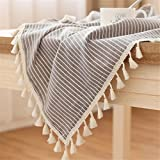 LUCKYHOUSEHOME Coffee and White Stripe Tassel Tablecloth Cotton Linen Rural Small Home Kitchen Dinning Tabletop Table Cover 39 x 55 Inch