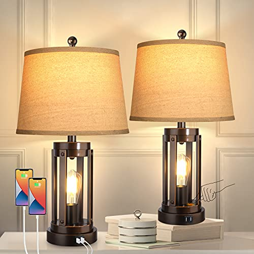 Set of 2 Table Lamps with USB Ports, 3-Way Dimmable Farmhouse Touch Lamps, Bedside Lamp for Bedroom with AC Outlet, Modern Black Nightstand Lamps Desk Lamp for Living Room Reading, Bulbs Included