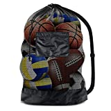 "BROTOU Extra Large Sports Ball Bag Mesh Socce Ball Bag Heavy Duty Drawstring Bags Team Work for Holding Basketball, Volleyball, Baseball, Swimming Gear with Shoulder Strap (30"" x 40"")"