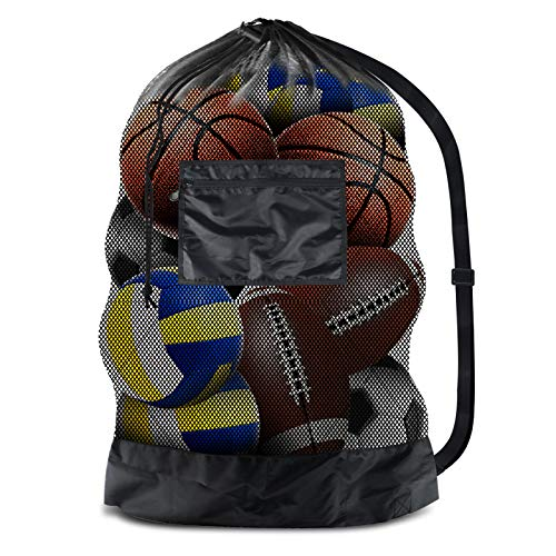 """BROTOU Extra Large Sports Ball Bag Mesh Socce Ball Bag Heavy Duty Drawstring Bags Team Work for Holding Basketball, Volleyball, Baseball, Swimming Gear with Shoulder Strap (24"""" x 36"""")"""