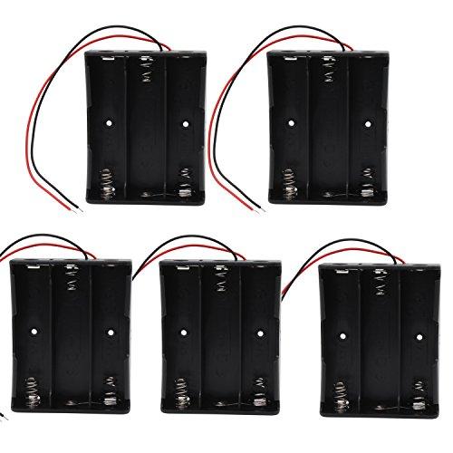 KEESIN 3.7V 18650 Caja de Soporte de Batería Caja de Almacenamiento de Batería de Plástico con Cables y Abrazaderas de Cables Autoadhesivas (3 Solts × 5 piezas)