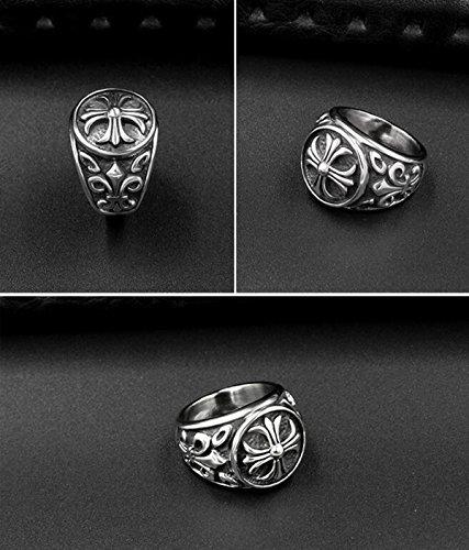 『ZAKAKA 指輪 メンズ リング ファッション アクセサリー (銀色, 24)』の6枚目の画像