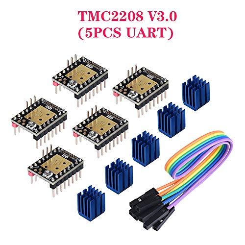 PoPprint TMC2208 V3.0 UART-Schrittmotortreibermodul mit Kühlkörper aktualisiertem TMC2100 DRV 8825-Treiber, kompatibel mit SKR V1.3 PRO MKS Ramps1.4-Platine für 3D-Drucker (5 Stück)