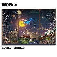 クラシックパズルゲーム 大人のための子供のユニークなカット連動個ウッドジグソーパズル1000ピース漫画コミック風景マルチスタイルのパズル大29.52インチインチby19.68パズル 頑丈で簡単 (Color : D)