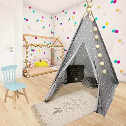 WEB2O Tipi Decorativo para niños, de 160 cm de Alto, Color Gris Estrellado