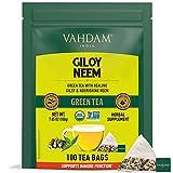 VAHDAM, Té Verde Orgánico Detox Giloy Neem (100 Bolsitas de Té) | 100% Té Verde de Hoja Entera para Reforzar la Inmunidad | Té Vegano, Apto para Keto, Bajo en Calorías con MUCHOS ANTIOXIDANTES