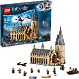 Build and recreate a magical fantasy realm from the Harry Potter movies with this detailed 4-level LEGO 75954 Hogwarts Great Hall Harry Potter castle building kit, featuring a fireplace, benches, tables and reversible house banners, plus the Grand St...
