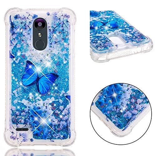 Keteen Cover LG K8 2018, LG K9 Custodia, Colorato Glitter Brillantini Quicksand Sabbie TPU Silicone Bumper Bling Flessibile Trasparente AntiGraffio Case per LG K8 2018/ LG K9 - Farfalla Blu