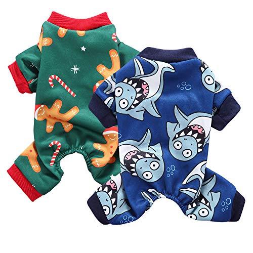 Oncpcare 2 Pack Hond pyjama, Zacht Katoen Kerst Huisdier Kostuum, Gezellige Schattige Haai Shirt Huisdier Kleding Jumpsuit Pjs Slaapkleding voor honden puppy katten, M
