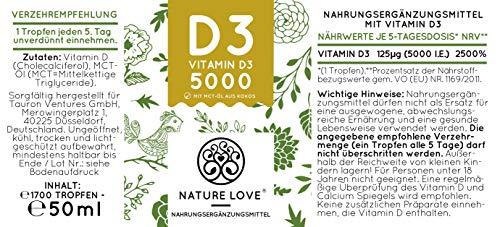 NATURE LOVE® Vitamin D3 5000 (50ml flüssig) - Mehrfacher Sieger 2020* - Laborgeprüfte 5000 I.E. pro Tropfen - Hochwertig: sehr hohe Stabilität - Hochdosiert, in Deutschland produziert - 4