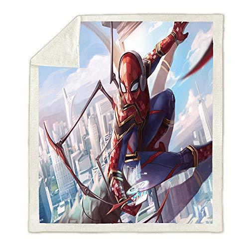 Aatensou - Manta de Spider-Man con impresión digital 3D, muy suave y cómoda, manta de anime, con diseño de Spider-Man, para cama, sofá y salón, todas las estaciones. (8,150 x 200 cm).