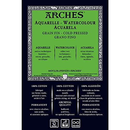 Unbekannt Arches 1710254Acuarela Papel, Madera, Color Blanco, 113x 914x 1cm
