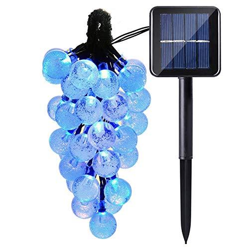 lederTEK, Solar Lichterkette 6m 30 LED Kugel Außenlichterkette Wasserdicht mit Lichtsensor Weihnachtsbeleuchtung, Beleuchtung für Haushalt, Außen, Garten, Hochzeit, Weihnachten(blau)
