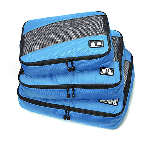 ROGF Travel Storage Bag Travel Luggage Packing Organizers With Laundry Bag 3 Set Packing Cubes For travel (Color : Blue)