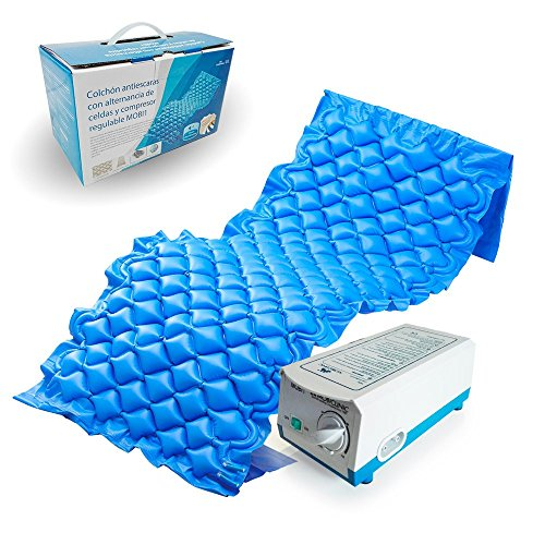 Mobiclinic, Materasso antidecubito con compressore, Mobi 1, Marchio europeo, Celle ad aria alternata, PVC medico ignifugo, 200 x 90 x 7, 130 cellette, Blu