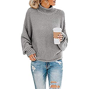 Women's Casual Turtleneck Sweaters Batwing Long Sleeve Pullover Loose...