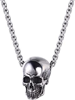 U7 Men Personalized Silver Black Gothic Skull Necklace Stainless Steel /18K Gold/Black Leather Chain Pendant, 20 Inch to 2...