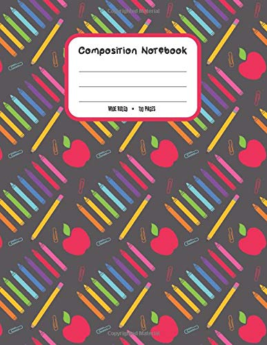 Composition Notebook: Cute Pattern with Pencils, Pastels and Rulers and Aplles Primary Copy Book For Back To School