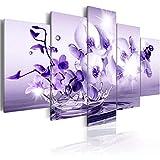 Bilder 5 Teilig Leinwandbilder Bild Auf Leinwand Vlies Wandbild Kunstdruck Wanddeko Wand Wohnzimmer Wanddekoration Deko - Lila Wassertropfenblume 150 X 80 cm