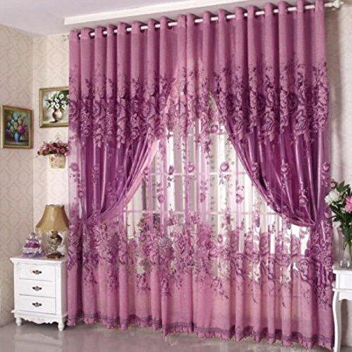 laami Juego de Voile Floral Cortinas & Cortinas Opacas con Aislamiento Térmico y Ojales para Ventanas de Habitación Dormitorios Salón (100x250cm) (Púrpura)
