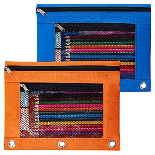 Sooez Binder Pouch, 2 Pack Pencil Pouch 3 Ring Fabric Pencil Pouches Black Pencil Case Pencil Bags,Pencil Bags with Zipper, Zippered Pencil Pouch for 3 Ring Binder, Blue/Orange