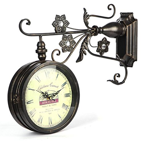 LQ-wall clock Reloj de Pared de Doble Cara de Hierro Vintage