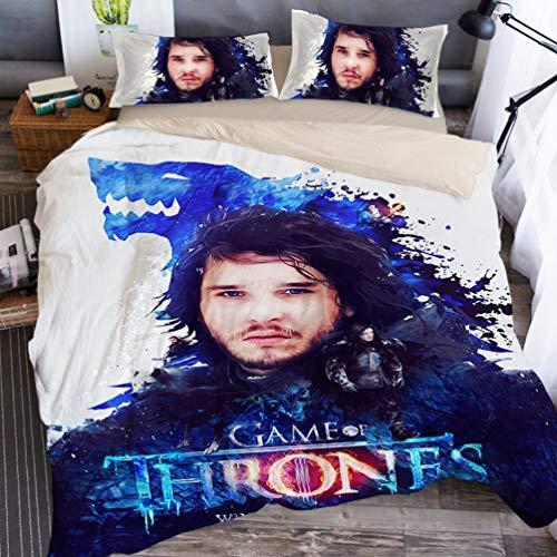 DCWE Bettwäsche Set - Bettbezug und Zwei Kissenbezug, Mikrofaser, 3D Digital Print Dreiteilige Set,Games of Thrones Kinder und Jugendliche (30,King?220x240?)