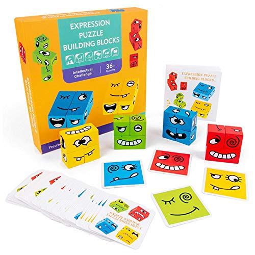 Wooden Magic Cube Face Emoji, Pattern Building Blocks Giocattoli Educativi, Cubi educativi Montessori Genitore-figlio Puzzle Building,Cartone Animato Cambia Faccia Cubo Building Block