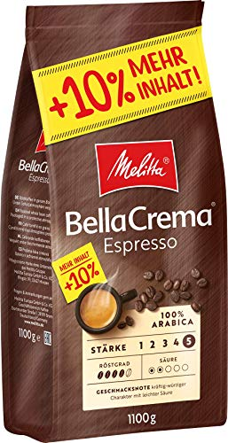 Melitta Ganze Kaffeebohnen, 100% Arabica, kräftig-würziger Geschmack, Stärke 4-5, BellaCrema Espresso, 1100g