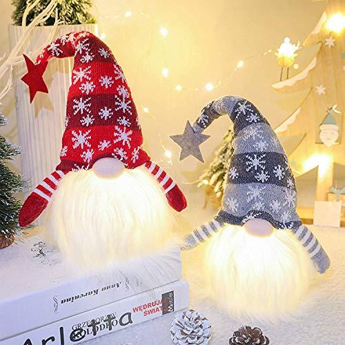 YAMI Weihnachtswichtel-Dekoration, 2 Stück, handgefertigt, schwedische Tomte, skandinavische Weihnachtsmannelfe, Ornamente, perfekt für Urlaub, Haushalt, Party, Büro, Geburtstagsgeschenk, (L)