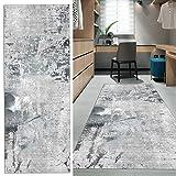 FKYUH Teppich Läufer Flur rutschfest Lang grau Küche Schlafzimmer Wohnzimmer Polyester Verblassen...