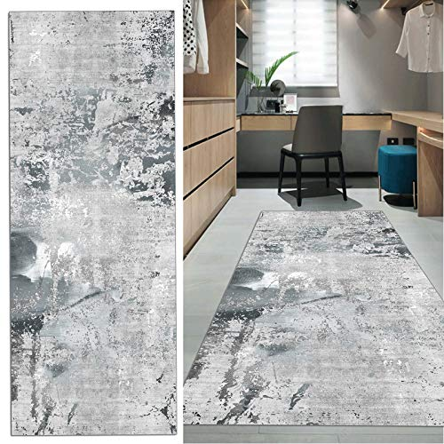 FKYUH Teppich Läufer Flur rutschfest Lang grau Küche Schlafzimmer Wohnzimmer Polyester Verblassen 60x100cm (Size : 60x100cm)