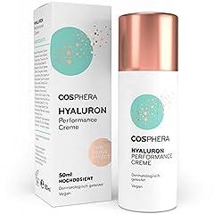 Cosphera - Hyaluron Performance Crème 50 ml - crème végane de jour et de nuit à haute dose pour le visage, le cou, le décolleté, les yeux - Anti-rides Hydratation pour les femmes et les hommes