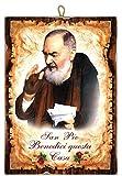 Cuadro de estilo vintage con el Padre Pio San Pio 'Benedici Questa Casa' de colección con...