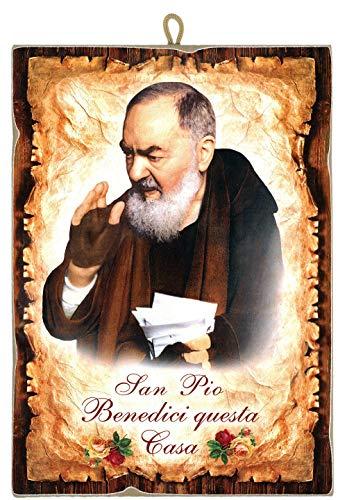 """Cuadro de estilo vintage con el Padre Pio San Pio """"Benedici Questa Casa"""" de colección con impresión láser sobre madera, fabricado en Italia"""