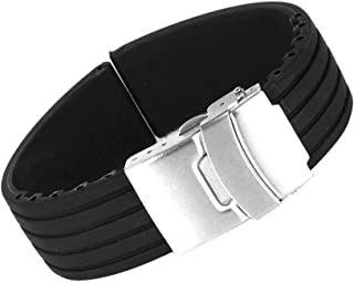 Flyme Black Silicone Rubber Watch Strap Band Deployment Buckle Waterproof 20mm