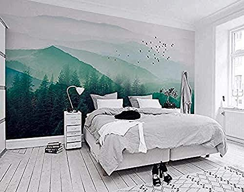 3D Wallpaper Nordic Minimalist Wallpaper IKEA Stil Vogel Nebel Kiefernwald Cloud Tv Hintergrund Wand- Tapete Grau W Wanddekoration fototapete 3d Tapete effekt Vlies wandbild Schlafzimmer-250cm×170cm