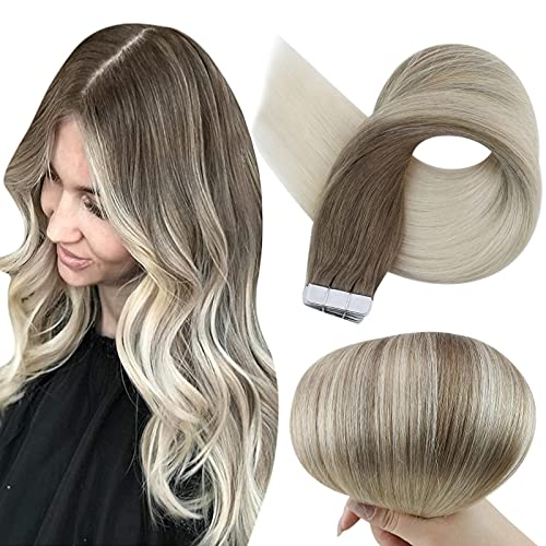 Fshine Tape In Hair Extensions Real Human Hair 18 Inch Balayage Color...