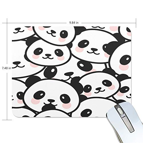 """Seamless Cute Cartoon Panda Face Pattern Mouse Pad Gaming Mousepad Anti-Slip Rubber Cool Laptop Computer Mouse Pads for Women Men Kids Desk Office Student, Small 10""""x7.5"""" Mouse Mat"""