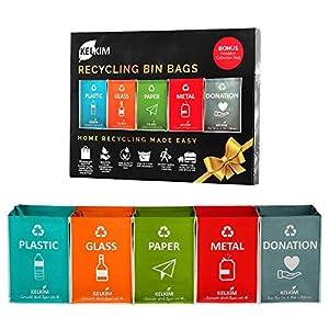 Bolsas de basura de reciclaje + bolsa de donación para el hogar, la cocina, la oficina, organizador de residuos portátil para interiores, contenedores de basura resistentes al agua
