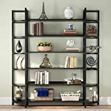 Tribesigns Triple Wide 6-Shelf Bookshelves , 6-Tier Large Etagere Bookcase Bookshelves Storage and Double Wide Bookshelf Display Shelves with Sturdy Metal Frame for Home Office Deco ,Black