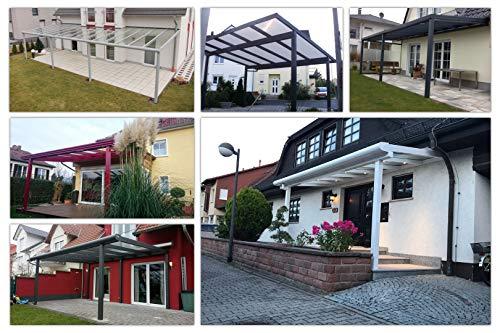 51tqekvvawL - Terassenüberdachung | Bausatz inkl. klare Hohlkammerplatten | integriertes Dachrinnen-System | pulverbeschichtetes Aluminium | Farb- und Größenauswahl | Wandmontage | 700x400cm (BxT) | weiß